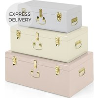 Gunner Extra Large Set of 3 Metal Storage Trunks, Tonal Pink