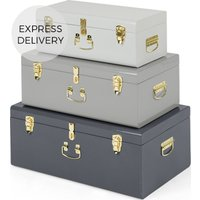 Gunner Extra Large Set of 3 Metal Storage Trunks, Tonal Grey