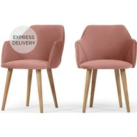 Product photograph showing Set Of 2 Lule Carver Dining Chairs Blush Pink Velvet