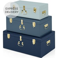 Gunner Extra Large Set of 3 Metal Storage Trunks, Tonal Blue