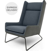 Hicks Wing Back Armchair, Anthracite Grey Leather with Iris