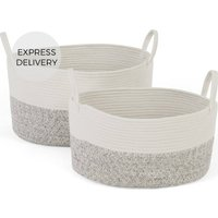 Toro Large Set of 2 Storage Baskets with Handles, White & Grey