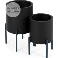 Product photograph showing Noor Set Of Two Galvanized Iron Round Plant Stands Black Teal