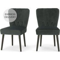Product photograph showing Set Of 2 Charley Dining Chairs Midnight Grey Velvet And Black