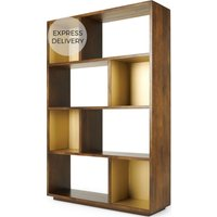 Anderson Wide Shelving Unit, Mango Wood and Brass