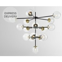 Globe Statement Pendant Chandelier Extra Large  Black  Antique Brass and Smoked Glass