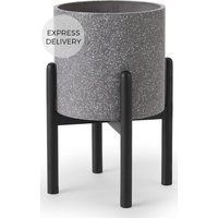 Product photograph showing Hakuun Tall Terrazzo Plant Pot With With Rubberwood Legs Grey Black
