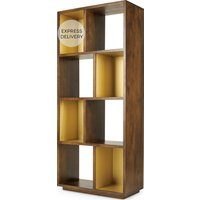 Anderson Narrow Shelving Unit, Mango Wood and Brass