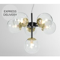 Product photograph showing Globe Small Chandelier Black Antique Brass And Smoked Glass