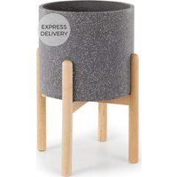 Product photograph showing Hakuun Tall Terrazzo Plant Pot With Rubberwood Legs Grey Natural