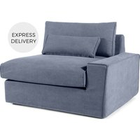 'Trent Loose Cover Modular Right Hand Facing Sofa Arm, Washed Blue Cotton