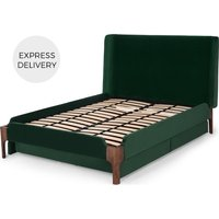 Product photograph showing Roscoe King Size Storage Bed With Storage Drawers Pine Green Velvet Dark Stain Oak Legs