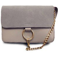 Elegant Suede and Chain Design Crossbody Bag For Women, Gray