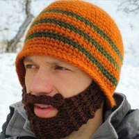 Stylish Chic Knitting Pattern Decorated Hat For Men, Orange