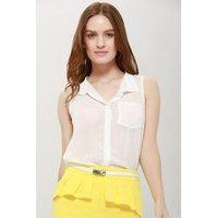Womens Chiffon Solid Color Pocket Ladylike Blouse