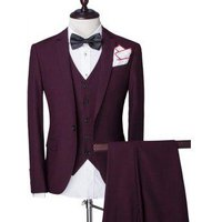 Solid Color Single Breasted Lapel Long Sleeve Mens Three-Piece Suit ( Blazer + Waistcoat + Pants )