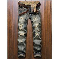 Five-Pocket Zipper Fly Straight Leg Frayed Ripped Jeans