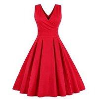 Retro Sleeveless Tea Length Party Dress