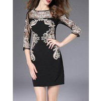 Semi Sheer Embroidered Fitted Dress