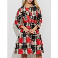 A Line Button Down Plaid Belted Dress