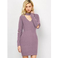 Choker Neck Short Sheath Fitted Sweater Dress