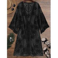 Embroidered Sheer Kimono Cover Up