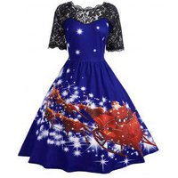 Plus Size Lace Panel Father Christmas Midi Party Dress