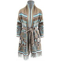 Aztec Geometric Fringed Knit Tunic Cardigan