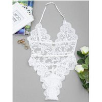 Backless High Cut Lace Sheer Bodysuit
