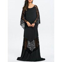 Lace Insert Maxi Party Prom Dress