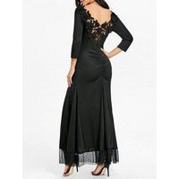 Back Ruched Lace Maxi Dress