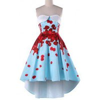 Foldover Strapless Floral High Low Party Dress
