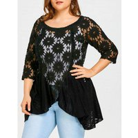 Plus Size Flower Lace Panel Blouse With Slip Top