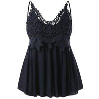 Plus Size Lace Panel Smocked Slip Tank Top