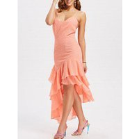 Asymmetrical Tiered Ruffle Midi Dress
