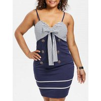 Plus Size Bow Bust Knee Length Fitted Dress