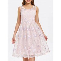 Back Keyhole Floral Embroidery A Line Dress