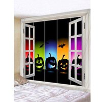 3D Window Print Pumpkin Bat Tapestry Art Decoration