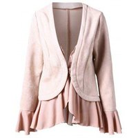 Flare Sleeve Faux Suede Flounce Jacket