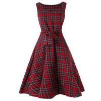Sleeveless Tartan Skater Dress