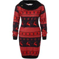 Christmas Plus Size Cowl Neck Printed Sweatshirt