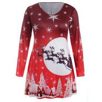 Plus Size Long Sleeves Snowflake Christmas Dress