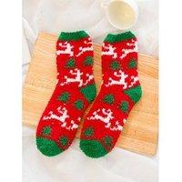 12 Pairs Christmas Theme Santa Claus Fuzzy Warm Socks