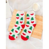 12 Pairs Christmas Theme Santa Claus Fuzzy Warm fuzzy socks
