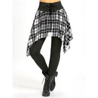 Asymmetric Plaid Lace Up Tight Skirted Leggings