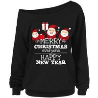 Plus Size Skew Neck Graphic Christmas Sweatshirt