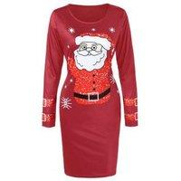 Santa Claus Christmas Dress With Long Sleeves