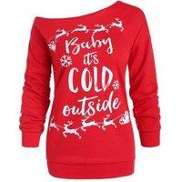 Plus Size Skew Neck Snowflake Elk Christmas Sweatshirt