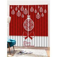 2 Panels Christmas Balls Bowknot Print Window Curtains