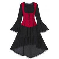 Long Sleeve Retro Layered Asymmetrical Corset Dress